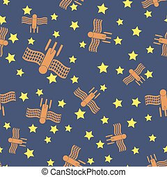 Spaceship Seamless Pattern. Spacecraft Background