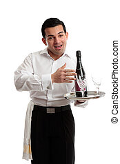 Jovial waiter or bartender - Jovial waiter, servant or...