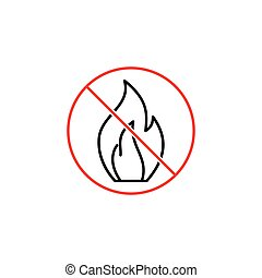 no fire sign on white background - thin line no fire sign on...
