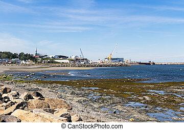 Matane Port coast view of Saint Lawrence River at summer -...
