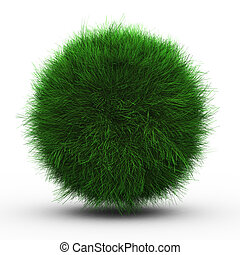 3d render of green grass ball on white background.