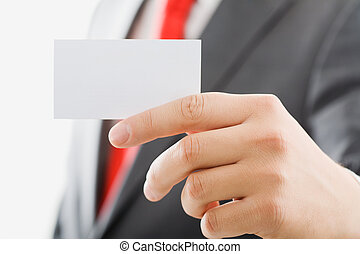 Visiting card - Image of male fingers holding a blank...