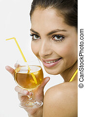 Elegant woman with the glass of juice