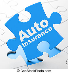 Insurance concept: Auto Insurance on puzzle background -...