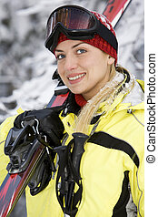 Smiling girl after skiing - Sporting young beautiful woman...