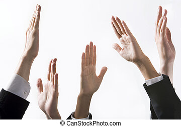 High into the air - Isolated on white human hands reaching...