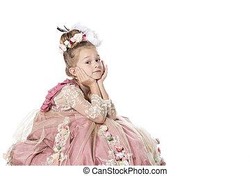 很少, 她, 被隔离, horse., 等待, 白色, 王子, 公主