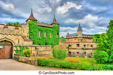 Entrance to Lichtenstein Castle in Baden-Wurttemberg,...