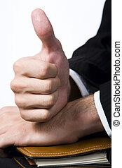 Okay! - Isolated on white human hand showing okay sign lying...