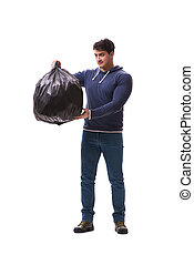 Man with garbage sack isolated on white