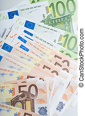 European currency - Close-up of fifty and hundred euro...