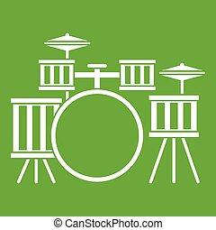 Drum kit icon green - Drum kit icon white isolated on green...