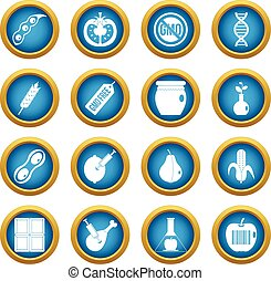 GMO icons blue circle set isolated on white for digital...