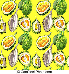Exotic durian wild fruit pattern in a watercolor style. -...