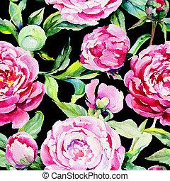 Wildflower peony flower pattern in a watercolor style. -...