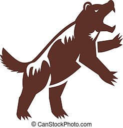 Wolverine Standing Hind Legs Retro - Illustration of a...