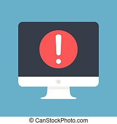 Computer with exclamation point on screen. Warning message, alert message concepts. Modern flat design vector icon