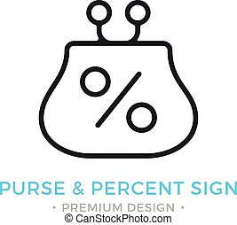 Purse and percent sign icon. Wallet and percent logo....