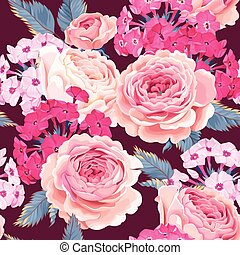 Seamless pattern with phloxes and roses - Vector floral...
