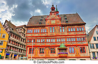 Rathaus, the town hall of Tubingen in Baden-Wurttemberg,...