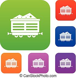 Train waggon with coal set collection - Train waggon with...