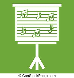 Whiteboard with music notes icon green - Whiteboard with...