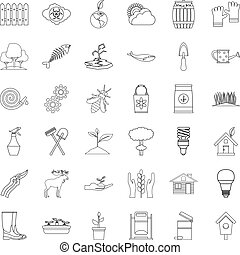 Plant icons set, outline style - Plant icons set. Outline...