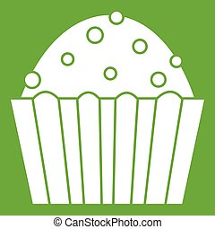 Cup cake icon green - Cup cake icon white isolated on green...