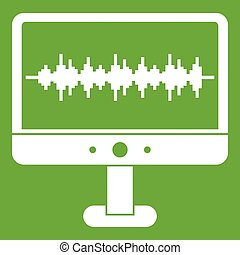 Sound waves icon green - Sound waves icon white isolated on...