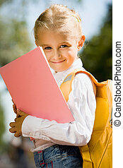 Adorable girl - Portrait of smiling adorable girl with...