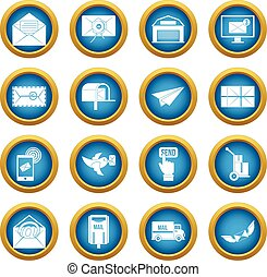 Poste service icons blue circle set isolated on white for...