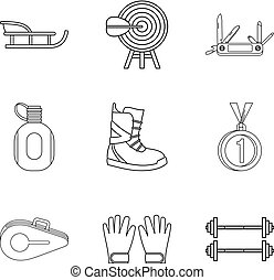 Penknife icons set, outline style - Penknife icons set....