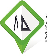 Design green square pointer vector icon in eps 10 on white background with shadow.