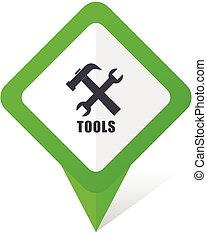 Tools green square pointer vector icon in eps 10 on white...