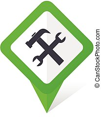 Tool green square pointer vector icon in eps 10 on white...