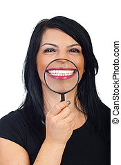Big white toothy smile - Beauty woman showing with a...