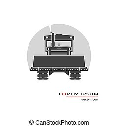 Bulldozer vector icon isolated on background. Vector...