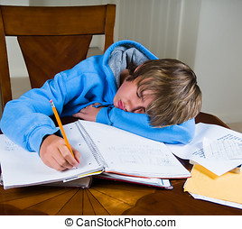 Teenage boy falls asleep while doing homework. - A young...