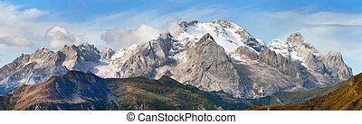 View of Marmolada, Dolomites mountains, Italy - View of...