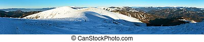 Wintry view from Velka Fatra mountains with tourist and...