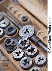 Hardware tools on a stall - Close up of hardware tools in a...