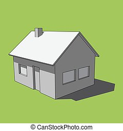 3D image - grayscale simple isolated house