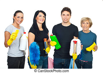 Happy team of cleaning house workers - Happy team of...
