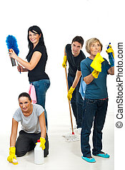 Team of people cleaning your house - Happy team of four...