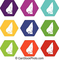 Human nose with piercing icon set color hexahedron - Human...