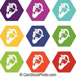 Human ear with piercing icon set color hexahedron - Human...