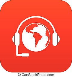 World planet and headset icon digital red