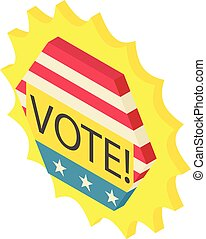 Vote icon, isometric 3d style - Vote icon. Isometric...