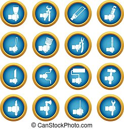 Hand tool icons blue circle set isolated on white for...