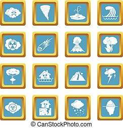 Natural disaster icons azure - Natural disaster icons set in...